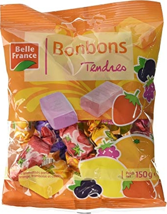 bonbons tendres aromatisés citron orange framboise et casis 150g