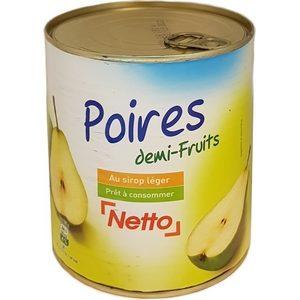 Netto poires demi-fruits au sirop 800g
