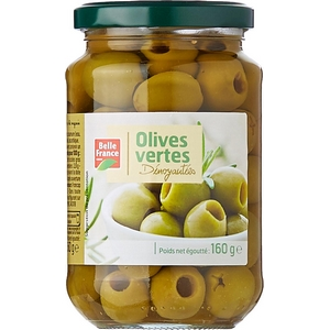 Belle france olives vertes dénoyotées 160g