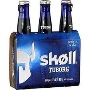 Bière skoll tuborg aromatisé vodka et agrumes 3x33cl 6% vol.
