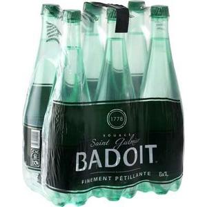 Eau minérale naturelle badoit, finement pétillante, bouteilles vertes, 6x1l