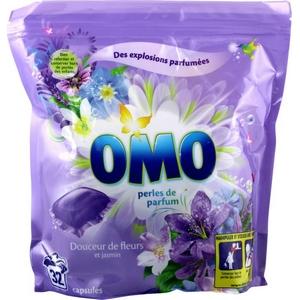 Lessive capsules omo douceur de fleurs et jasmin perles de parfum x32 841g