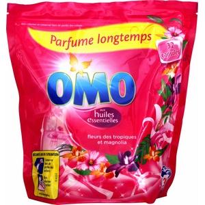 Lessive capsules omo fleurs des tropiques et magnolia x32 841g