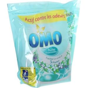 Lessive capsules omo fraîcheur aux extraits de 5 plantes x32 841g