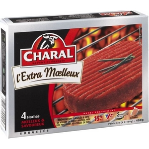 Steaks, haches extra moelleux, charal, 4x100g