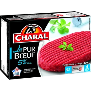 Steaks, haches, le pur bœuf, charal, 5% m.g 4x100g