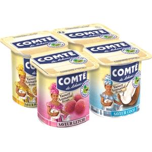 Comté yaourt aromatisés coco pêche-passion letchi 4x125g