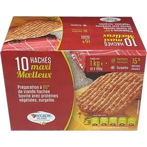 Steak haché maxi moelleux 15% mg. 10x100g