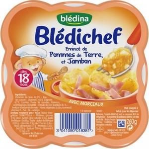 Blédichef émincé de pomme de terre, et jambon dès 18 mois 260g