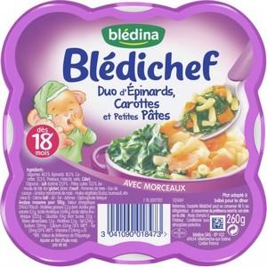 Blédichef duo d'épinards, carottes et petites pâtes dès 18 mois 260g