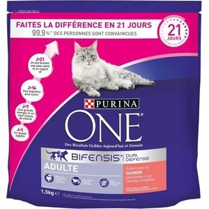 Purina One croquettes chat adulte, saumon et céréales complètes 1,5kg