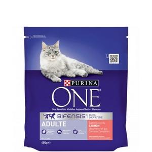 Purina One croquettes chat adulte, saumon et céréales complètes 450g