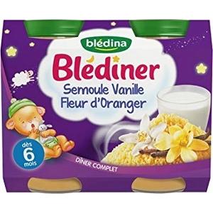 Blédiner petits pots semoule vanille fleur d'oranger dès 6 mois 2x250ml