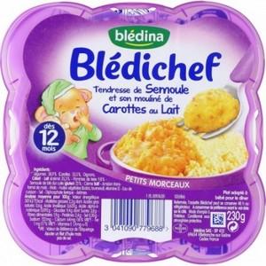 Blédichef tendresse de semoule et son mouliné de carottes au lait dès 12 mois 230g