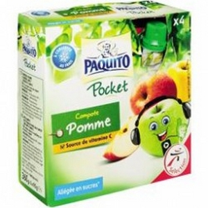 Paquito compote gourde pocket pomme x4