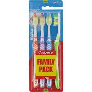 Colgate brosse à dents extra clean souple family pack x4
