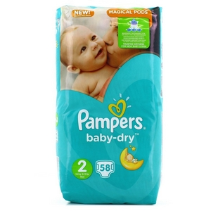 Pampers couches baby-dry n°2 x58 de 4-8kg