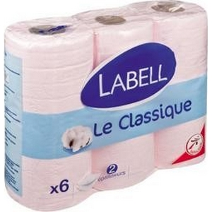 Labell papier toilette rose 6 rlx