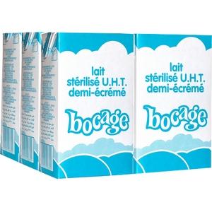 Bocage lait stérilisé u.h.t demi-écrémé 6x1l