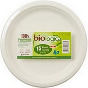 Flo Biologica assiettes plates 100% biodégradables et compostables 23cm x15