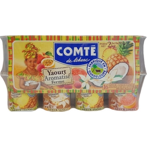 Comté yaourt aromatisé goyave-vanille-ananas-coco-letchi-pêche-passion 16x125g