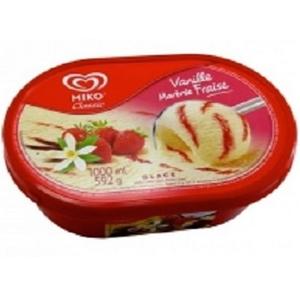 Miko glace vanille marbré fraise bac 1l