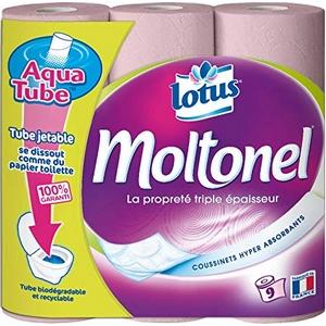 Papier toilette lotus moltonel triple tube jetable 9rlx