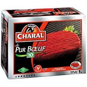 Steaks, haches, le pur bœuf, charal, 15% m.g 10x100g