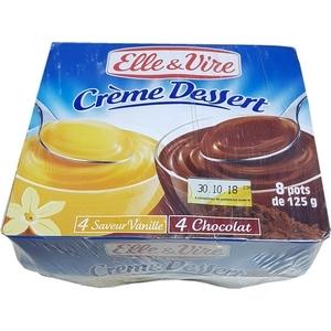 Elle et vire crème dessert 4 vanille 4 chocolat 8x125g