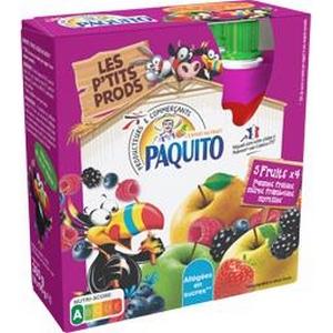 Paquito compote 5 fruits allégée en sucres 4x90g