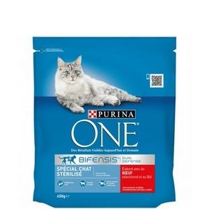 Purina One croquettes spécial chat stérilisé, boeuf et blé 450g
