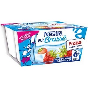 Nestlé p'tit brassé fraise 6 mois plus 4x100g