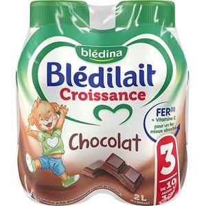 Blédilait  N°3 croissance chocolat de 10 mois à 3 ans 4x500ml