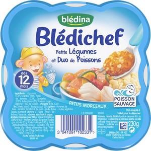 Blédichef ratatouilles de légumes et duo de poissons dès 12 mois 230g