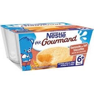 Nestlé p'tit gourmand semoule au lait biscuitée 6 mois plus 4x100g