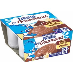 Nestlé p'tit gourmand choco vanille 12 mois plus 4x100g
