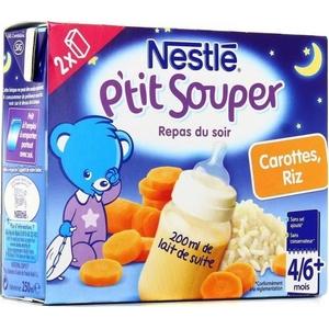 Nestlé p'tit souper carottes, riz dès 4 à 6 mois 2x250ml
