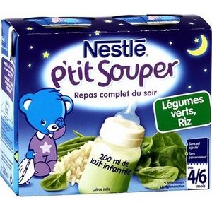 Nestlé p'tit souper légumes verts, riz dès 4 à 6 mois plus 2x250ml