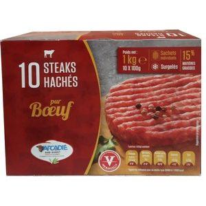 Arcadi steak hachés pur boeuf 15% M.G. 10X100G