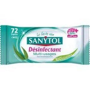 Sanytol 72 lingettes multi-usages extra-larges biodégradables