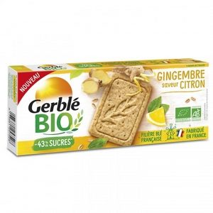 Gerblé biscuit bio gingembre saveur citron -43% de sucres 132g