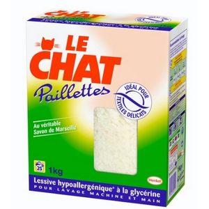 Lessive hypoallergénique le Chat paillettes au savon de Marseille 1kg